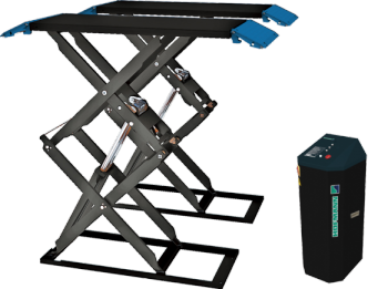 The HOFSL 3000 is a double scissor (full height) short sill car lift designed for surface-mounted installation. It has a 3000KG lifting capacity, a four hydraulic ram system for added safety and stability between platforms, and pneumatic safety locks.