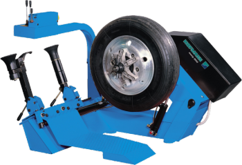 The Hofmann monty 3650 is a truck tyre changer, for mounting and demounting tubeless truck and bus tyres on steel or alloy rims.