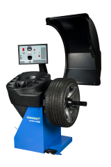 The Hofmann geodyna 7600P is a professional touchscreen wheel balancer for cars, light trucks and motorcycles – with 2D SAPE (Semi-Automatic Parameter Entry) and Smart Sonar input for automatic measurement of wheel offset, wheel diameter and wheel width, a pinpoint laser indicator for weight placement, and patented power clamping.