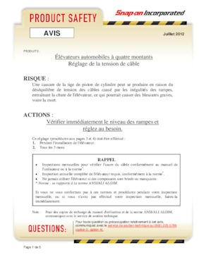Lifts - Four Post Lift Advisory - French