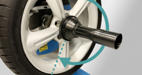 Touch the screen to automatically rotate the wheel to weight application position.